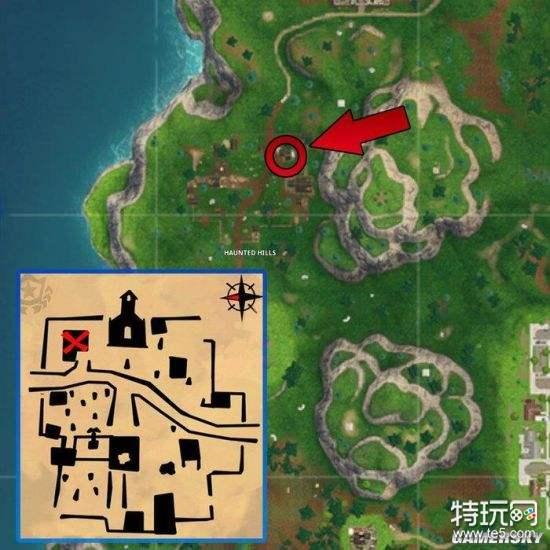 堡垒之夜跟随海景别墅藏宝图任务地点