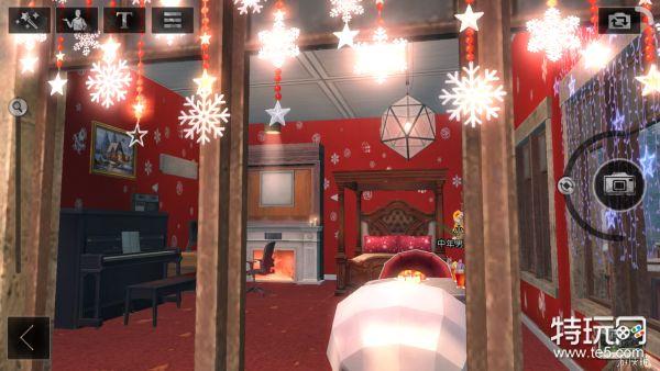 (3)红绿色圣诞壁纸:外墙装饰墙纸,红色背景上方用绿色窗帘灯进行