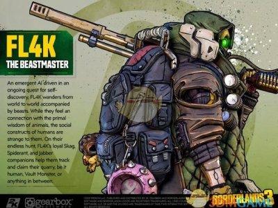 《无主之地3》驯兽师FL4K角色设定图一览