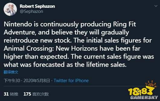 任天堂:《动森》火爆出乎意料 已达到预期终身销量